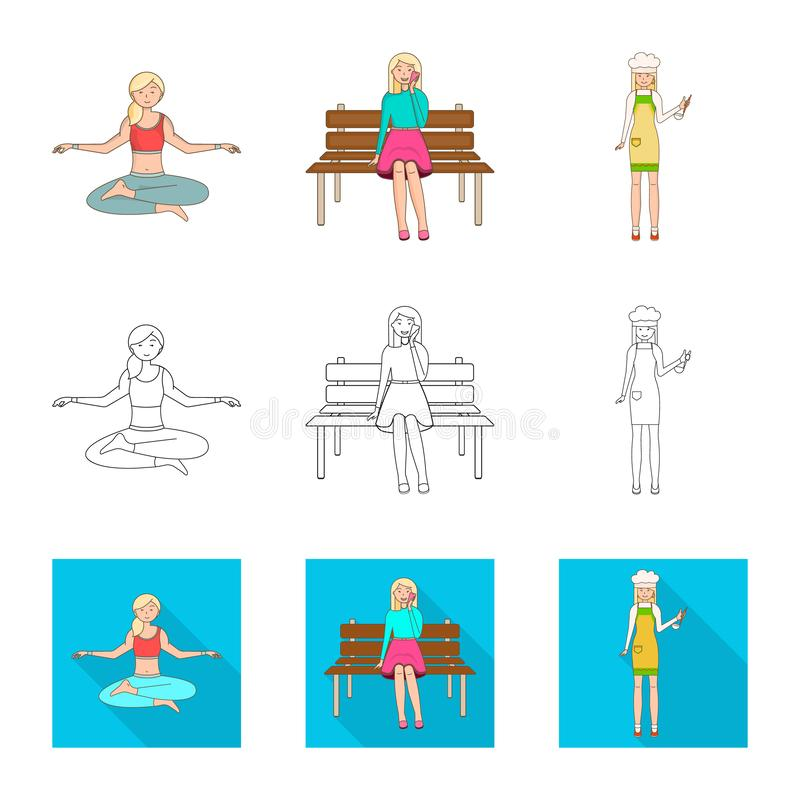 Vector design of posture and mood symbol. Collection of posture and female stock symbol for web. Vector illustration of posture and mood sign. Set of posture stock illustration