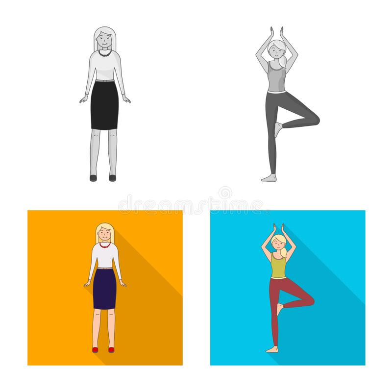 Vector design of posture and mood symbol. Collection of posture and female stock vector illustration. Vector illustration of posture and mood sign. Set of stock illustration