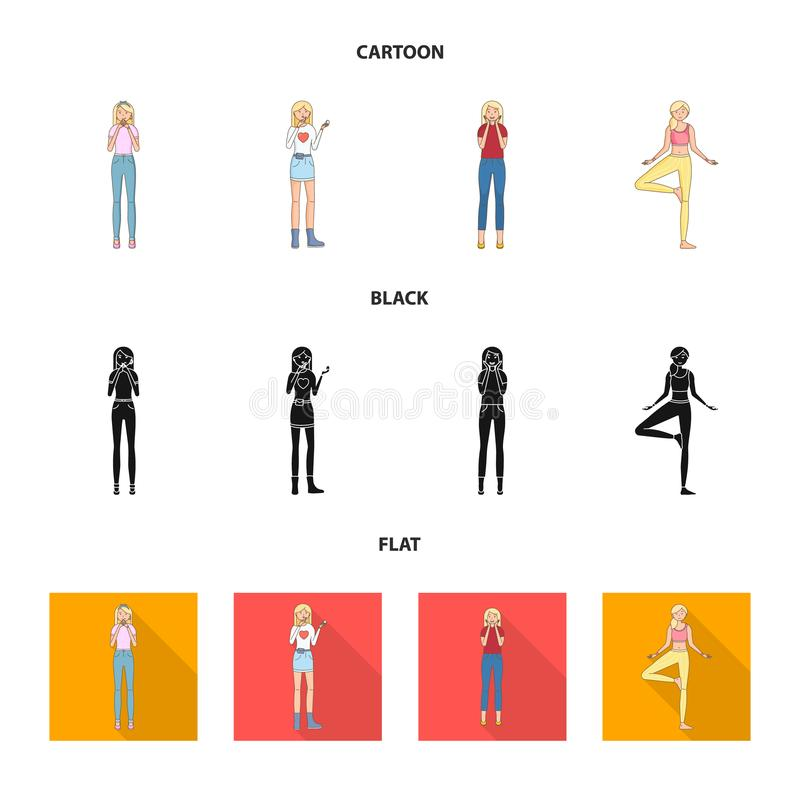 Vector design of posture and mood icon. Set of posture and female stock symbol for web. Vector illustration of posture and mood symbol. Collection of posture royalty free illustration
