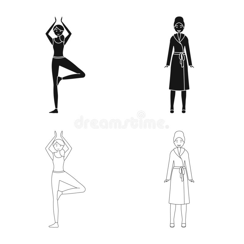 Vector illustration of posture and mood symbol. Collection of posture and female vector icon for stock. Isolated object of posture and mood sign. Set of posture vector illustration