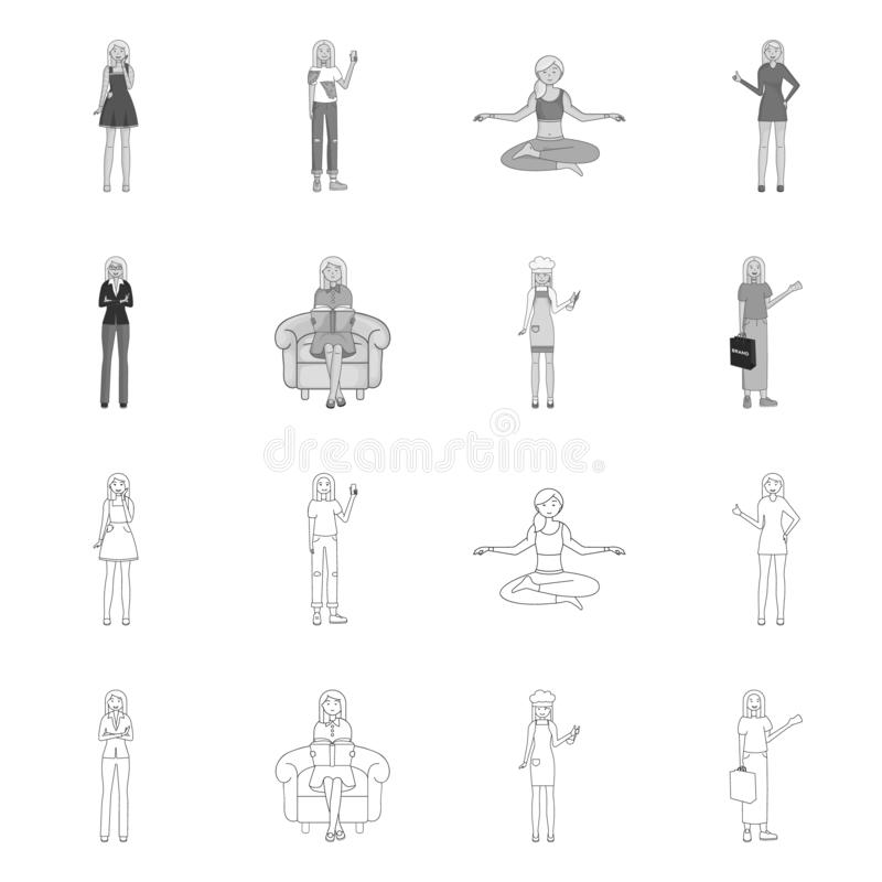 Vector design of posture and mood icon. Collection of posture and female stock symbol for web. Vector illustration of posture and mood symbol. Set of posture stock illustration