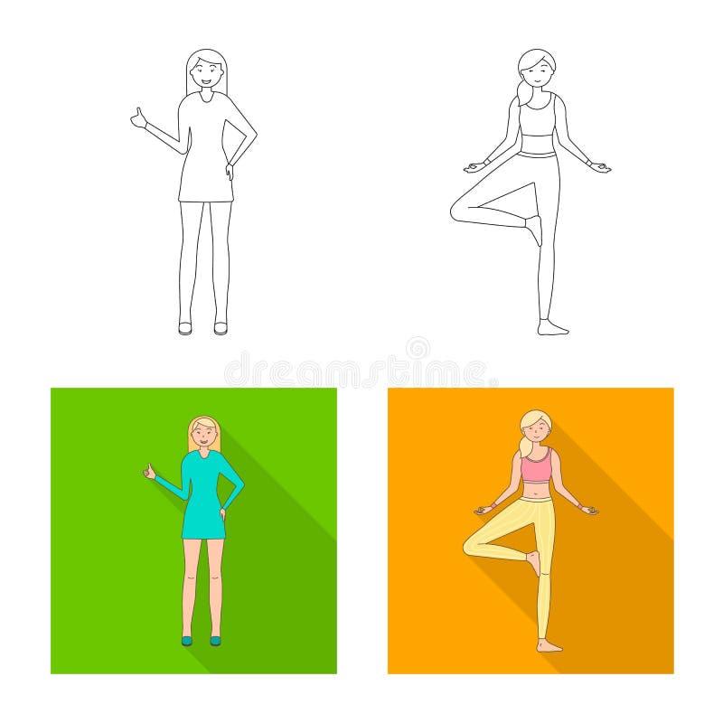 Vector illustration of posture and mood symbol. Set of posture and female stock vector illustration. Isolated object of posture and mood sign. Collection of vector illustration