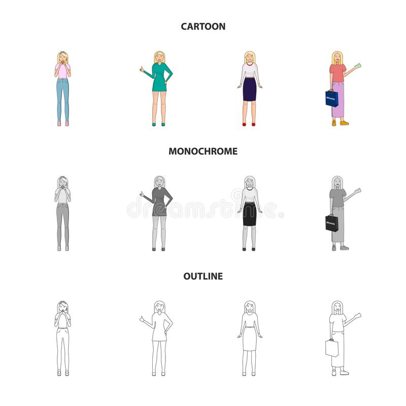 Vector design of posture and mood icon. Collection of posture and female stock symbol for web. Vector illustration of posture and mood symbol. Set of posture royalty free illustration