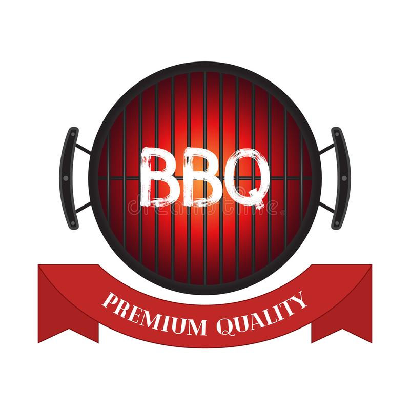 Vector premium quality meat, barbecue grill icon, bbq concept. Cartoon flat style. Vector illustration of premium quality meat, barbecue grill icon, bbq concept royalty free illustration