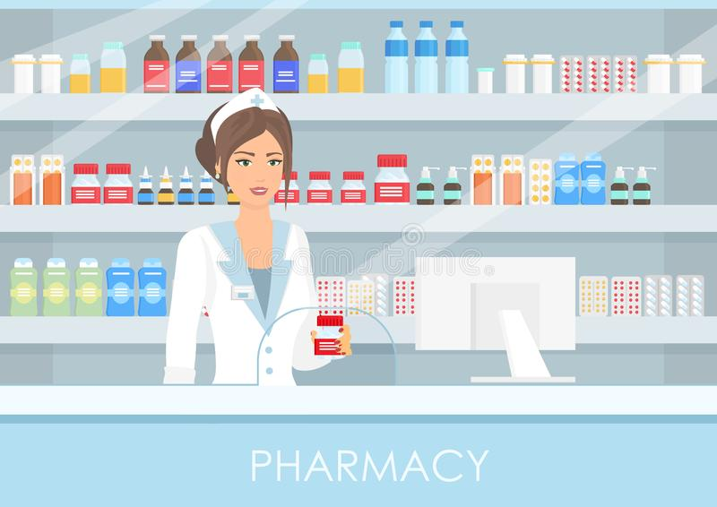 Vector illustration of pretty female pharmacist in interior pharmacy or drugstore with pills and drugs, bottles with royalty free illustration