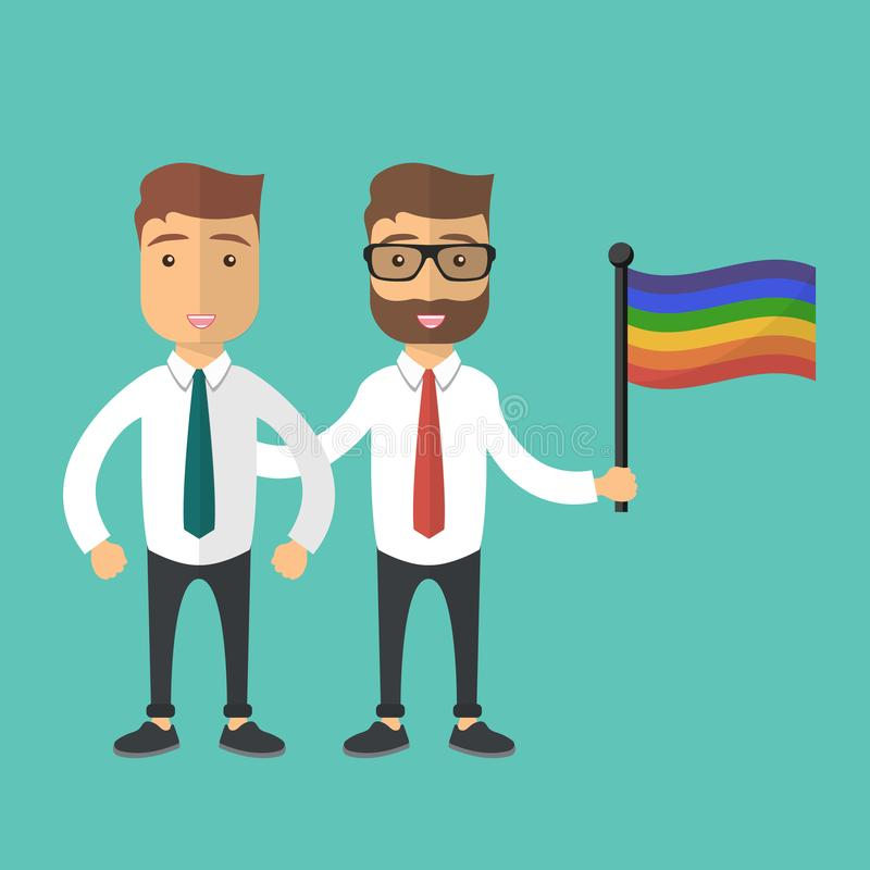 Vector illustration for pride month event celebration. Pride concept. Two gay man standing together with rainbow flag royalty free illustration
