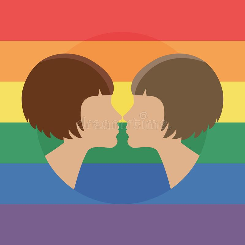Vector illustration for pride month event celebration. Pride concept. Two women kissing stock illustration