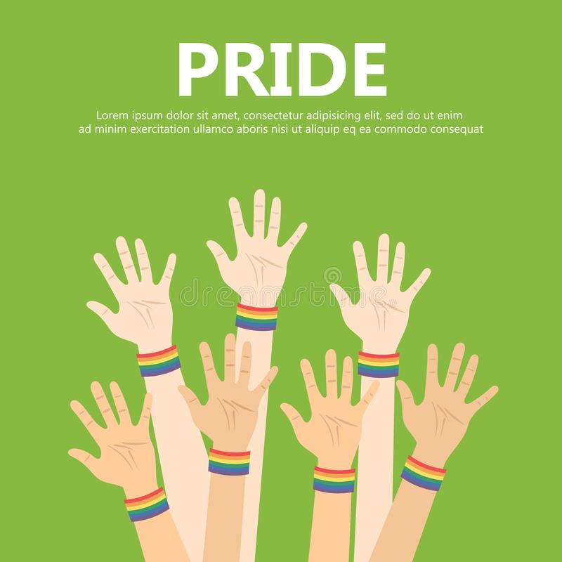 Vector illustration for pride month event celebration. Pride concept. Many hands up with rainbow bracelets royalty free illustration