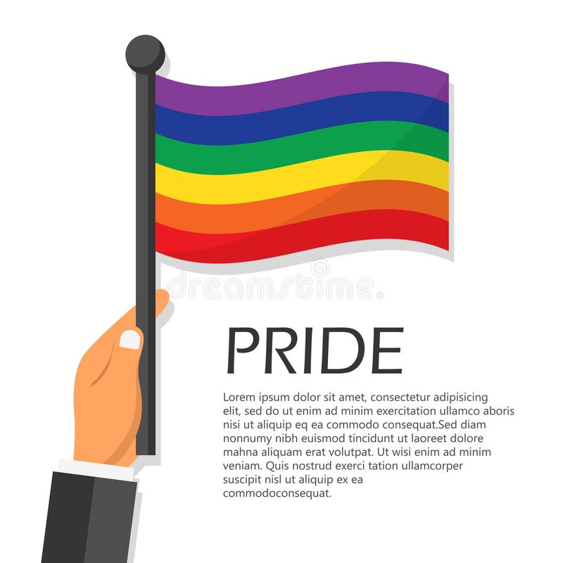 Vector illustration for pride month event celebration. Pride concept. Rainbow flag royalty free illustration