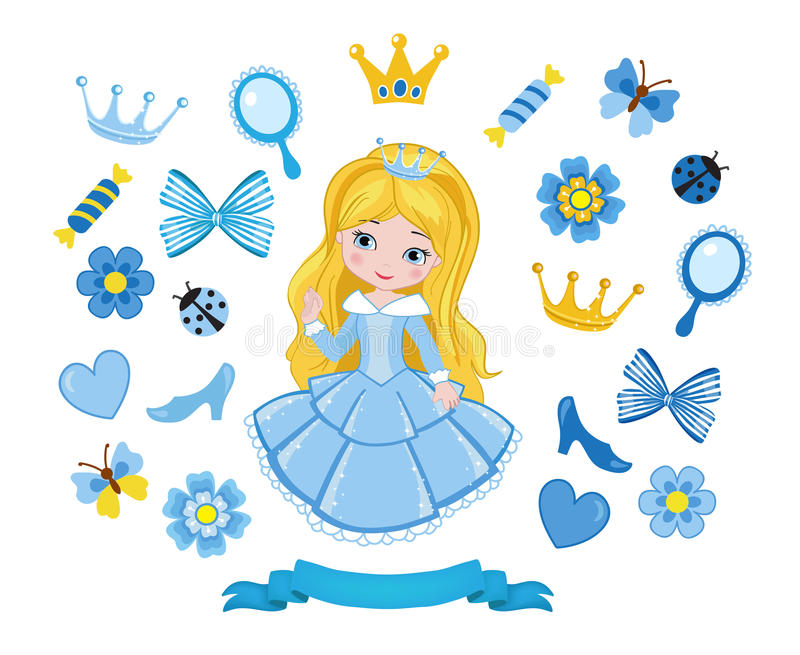Vector illustration of princess design elements. Vector illustration isolated on white background vector illustration
