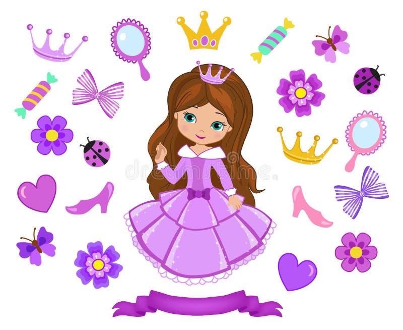 Vector illustration of princess design elements. Vector illustration isolated on white background stock illustration