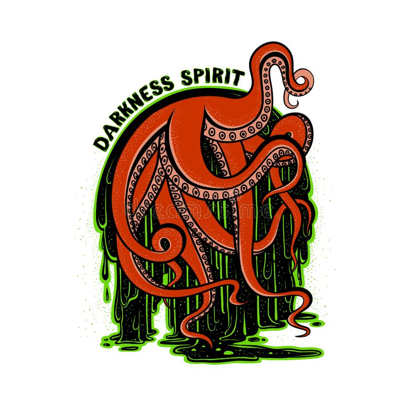 Vector illustration print art red tentacles of the monster. Octopus in the flow of luminescent glowing green radioactive sludge. Drawing creepy cephalopod stock illustration