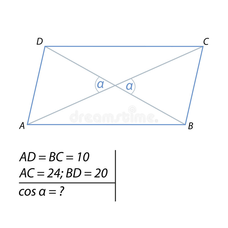 Vector illustration of the problem of finding the cosine of the acute angle between the diagonals-01. Vector illustration of the problem of finding the cosine of vector illustration