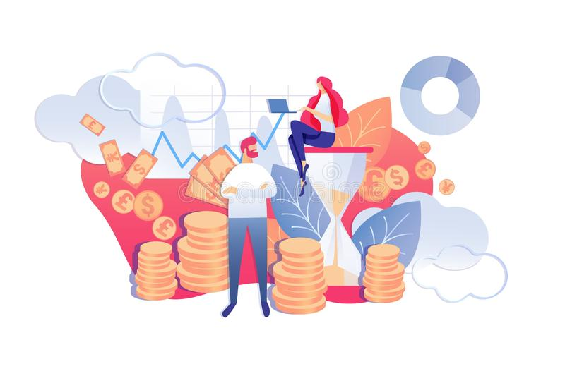 Vector Illustration Process Continuity Saves Time. Woman Sitting on Hourglass. Man Stands Background Money. Time Management for Preparatory, Planned or Routine stock illustration