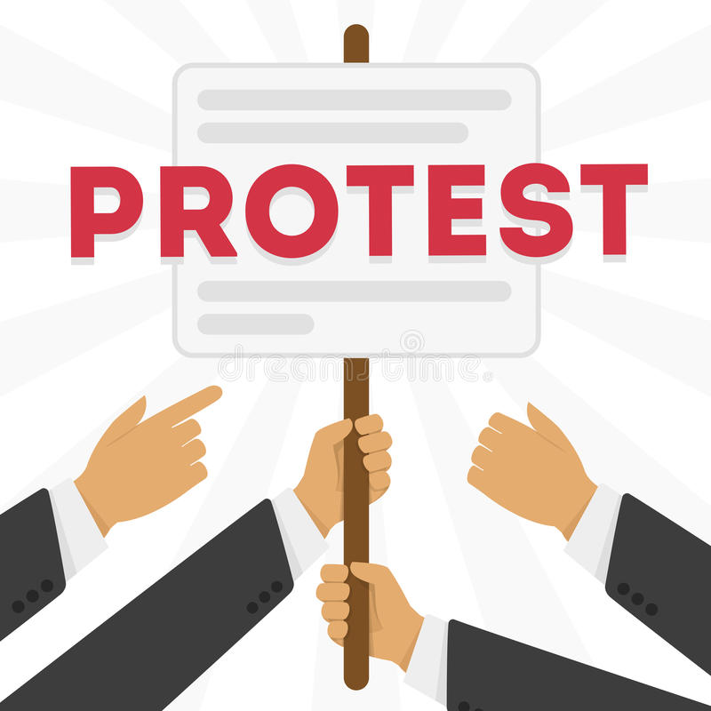 Vector illustration of a protest. Hands holding protest signs, crowd of people protesters background, political, politic crisis poster, fists, revolution placard royalty free illustration