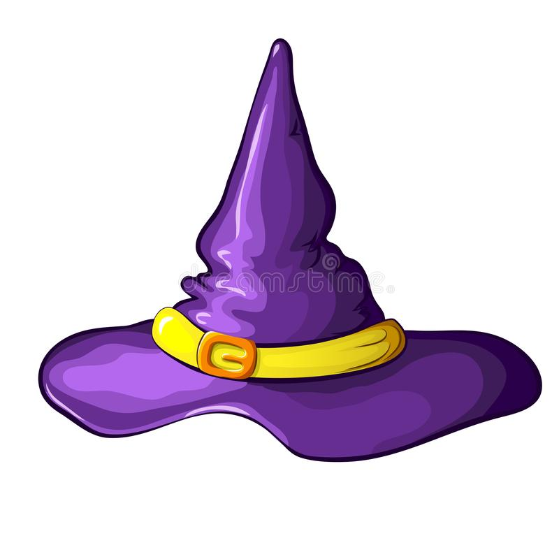 Vector illustration of purple cartoon Halloween witch hat with buckle isolated on white background. Symbol of witchcraft stock illustration