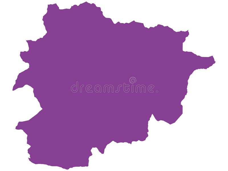 Purple Map of European Country of Andorra. Vector Illustration of the Purple Map of European Country of Andorra vector illustration