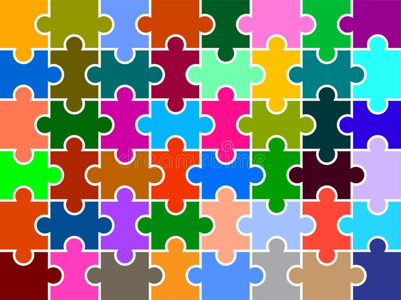 Puzzle pieces multi colored background. Vector illustration of puzzle pieces colorful background - white outline royalty free illustration