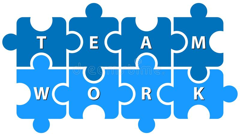 Puzzle pieces team work on white royalty free illustration