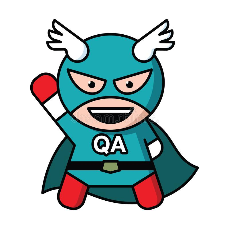 Qa specialist. Vector illustration of a QA specialist styled like Captain America royalty free illustration