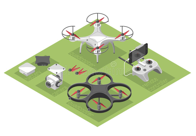 Vector Illustration with quad copter flying over the city and controller on isometric background. Drone delivery, remote control. Isometric style stock illustration