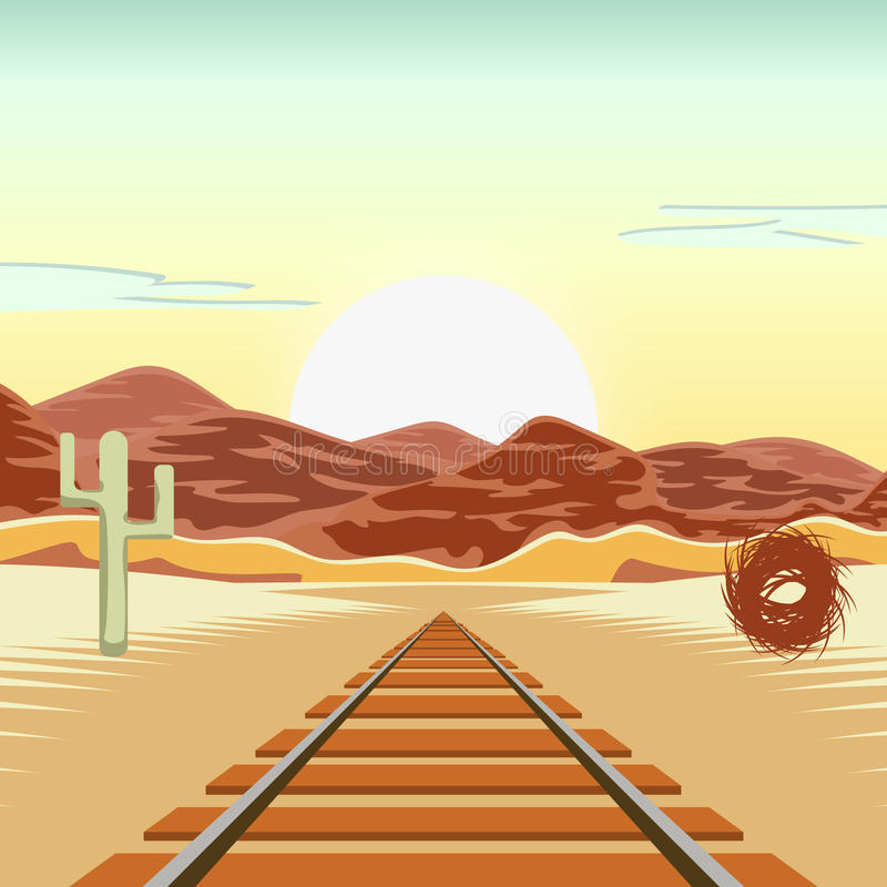 Vector illustration of a railway and in the deserted landscape, with a blue sky and the mountains in the background. Vector illustration of a railway and in the stock illustration