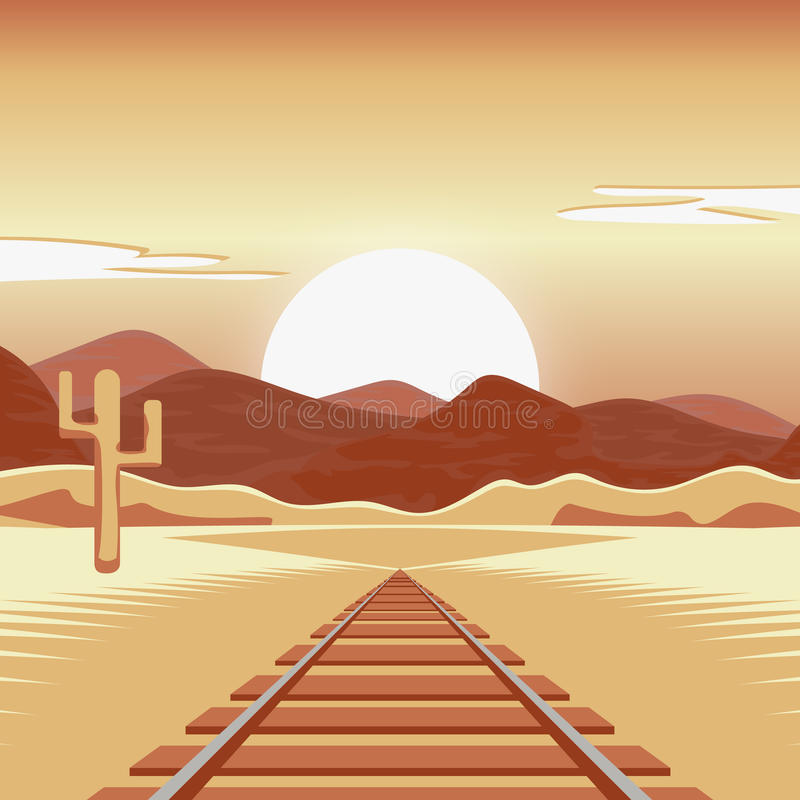 Vector illustration of a railway and in the deserted landscape. Vector illustration of a railway and in the deserted landscape with mountains stock illustration