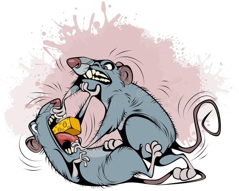 Rats fighting over prey royalty free illustration