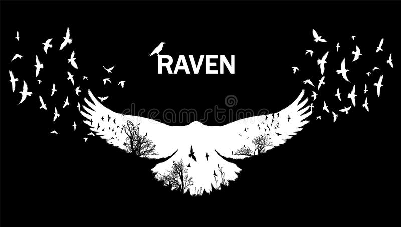 Vector illustration of the raven silhouette with the fluttering wings. Double exposure effect. royalty free illustration