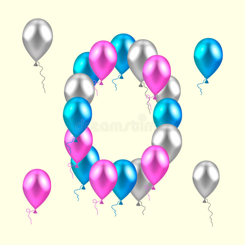 Vector illustration. realistic colored balloons. zero, null. pin. Vector illustration. realistic colored balloons. zero, null pink silver blue stock illustration
