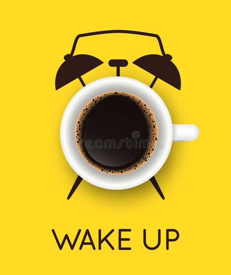 Vector illustration with realistic cup of coffee and hand drawn alarm clock on yellow background. Break time, good morning, drink stock illustration