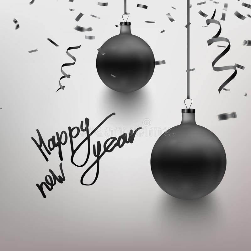Vector illustration realistic dark blue Christmas toy, ball, confetti, sparkles. Postcard design. Happy New Year calligraphy. EPS royalty free illustration