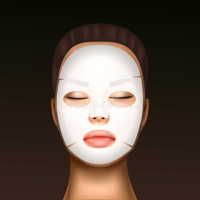 Vector illustration of a realistic face of a young beautiful girl with a cosmetic moisturizing facial mask against the. Black dots vector illustration
