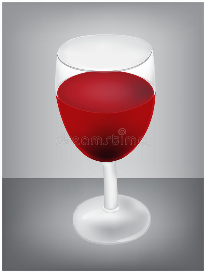 Vector illustration of realistic glass of red wine on grey background, table royalty free illustration