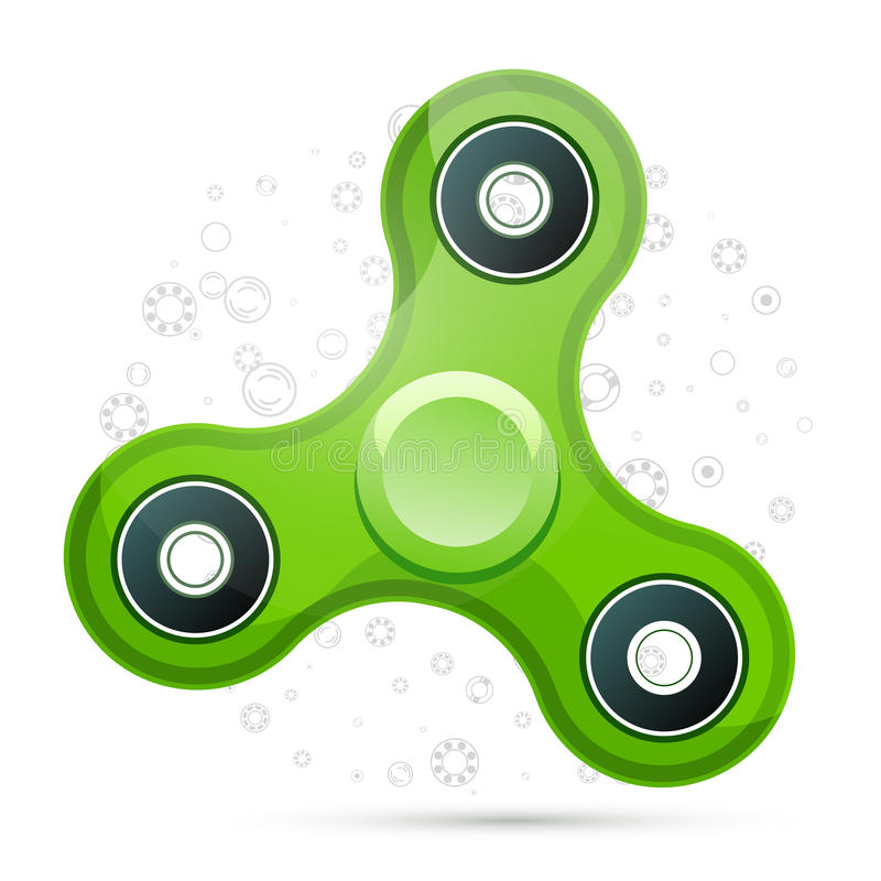 Vector illustration of realistic green fidget spinner with highlights. Creative concept of toy for improvement of attention span. On white background with royalty free illustration