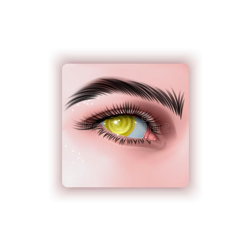 Vector illustration of realistic human eye of a girl with spiral hypnotic iris of yellow color vector illustration