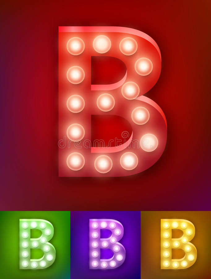 Vector illustration of realistic old lamp alphabet for light board. Vintage vegas show typography. Letter B vector illustration