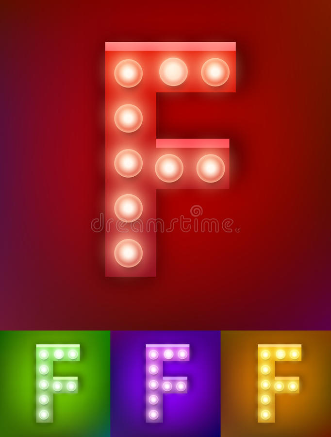 Vector illustration of realistic old lamp alphabet for light board. Vintage vegas show typography. Letter F royalty free illustration