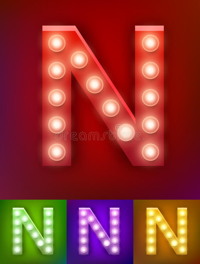 Vector illustration of realistic old lamp alphabet for light board. Vintage vegas show typography. Letter N stock illustration