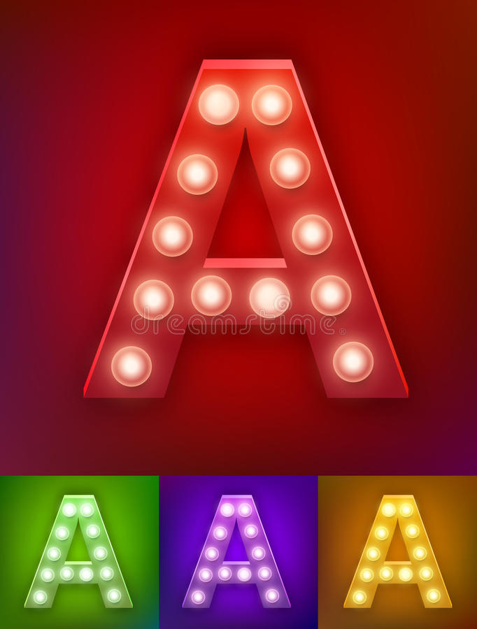 Vector illustration of realistic old lamp alphabet for light board. Vintage vegas show typography. Letter A stock illustration