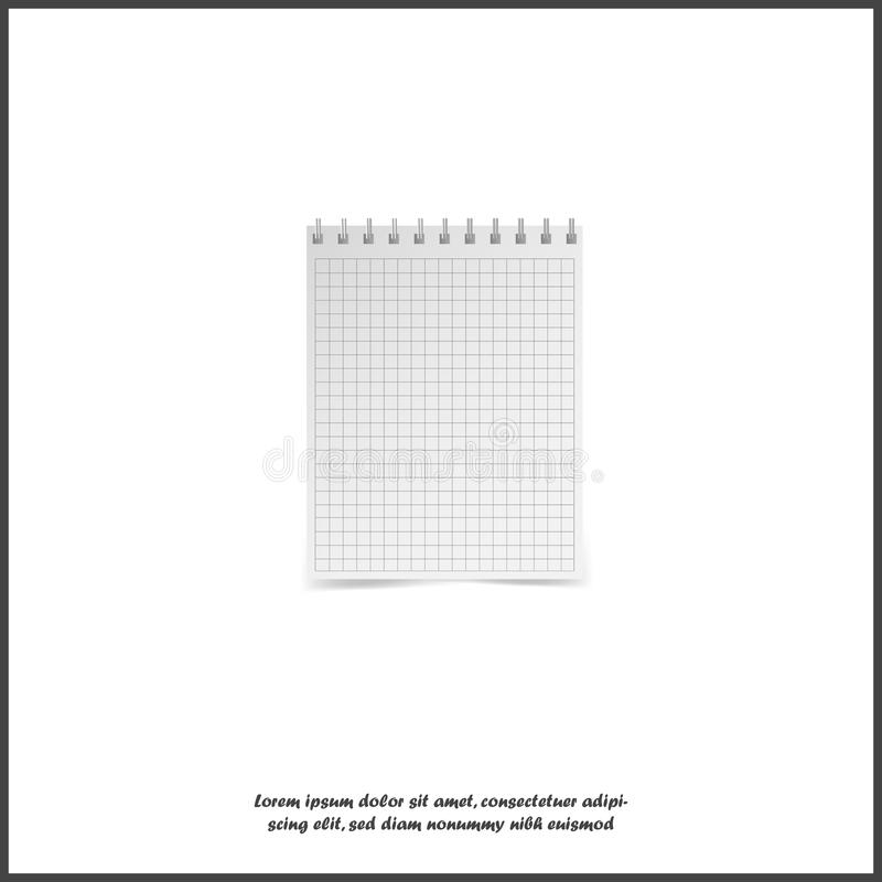 Vector illustration of a realistic school notebook. Vertical blank business notebook in a cage on metal rings on white isolated. Background. Layers grouped for stock illustration