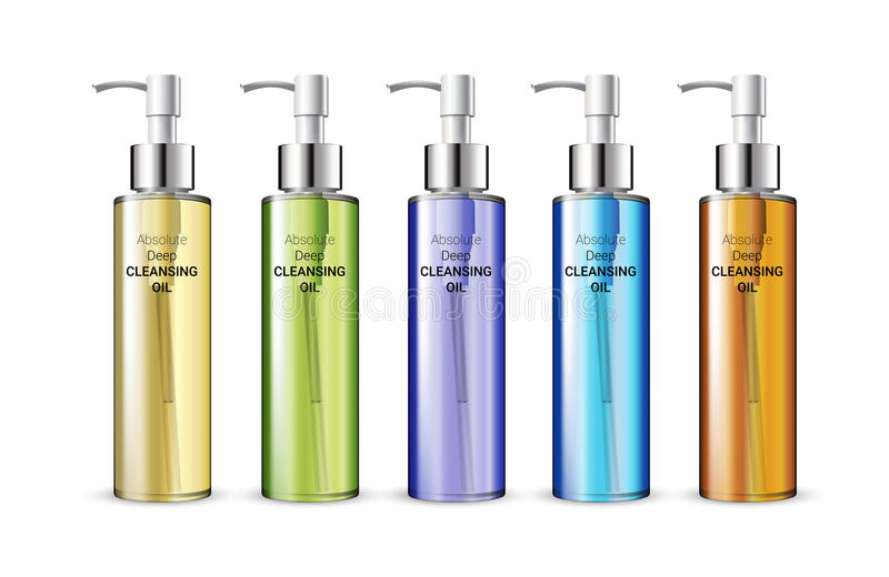 Vector illustration of realistic skin cleansing oil bottles. Deep Cleansing Oil in different color of packages. Vector illustration of realistic skin cleansing vector illustration