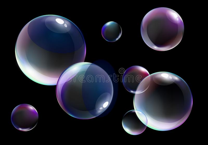 Vector illustration of realistic soap bubbles with bright rainbow colors on black background. Vector illustration of realistic soap bubbles with bright rainbow royalty free illustration
