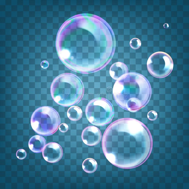 Vector illustration of realistic soap bubbles with rainbow reflection isolated on blue transparent background royalty free illustration