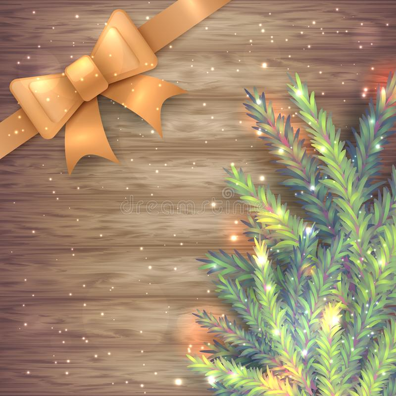 Vector illustration of realistic sparkled green and blue fir tree branch and golden silk ribbon with bow on wood background. stock illustration