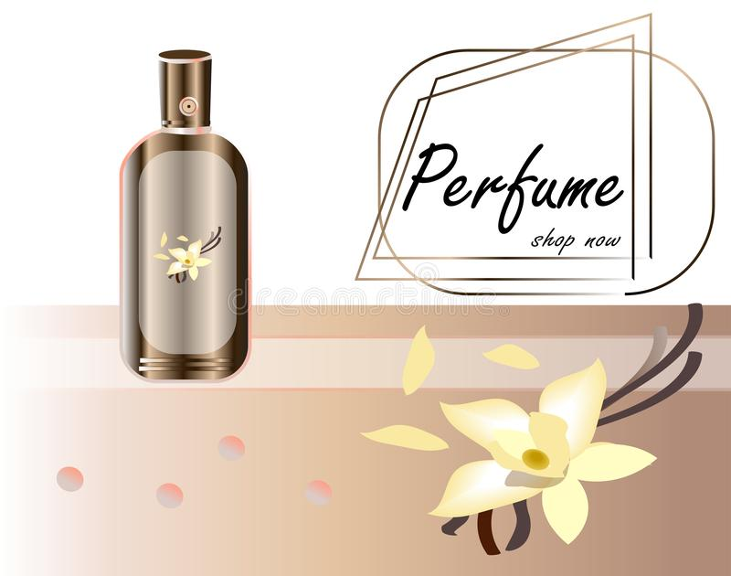 Vector illustration of a realistic style perfume in a glass bottle on a background with luxurious flower . Great stock illustration