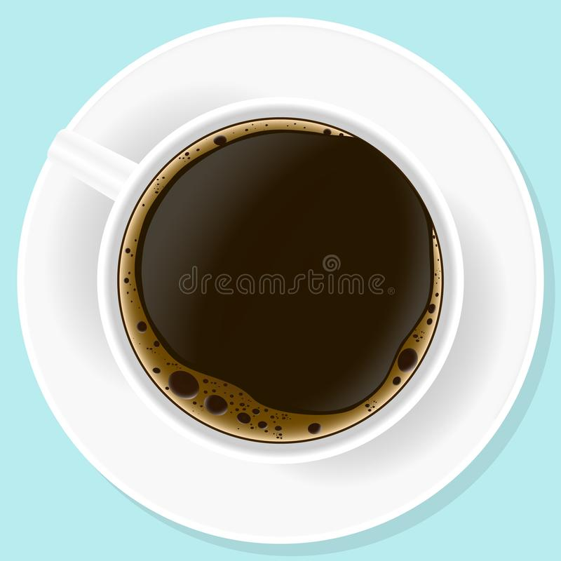 Vector illustration. Realistic a up of black coffe. Vector drawing. Concept nutrition. Realistic a up of black coffe top view. Americano in white cup isolated vector illustration