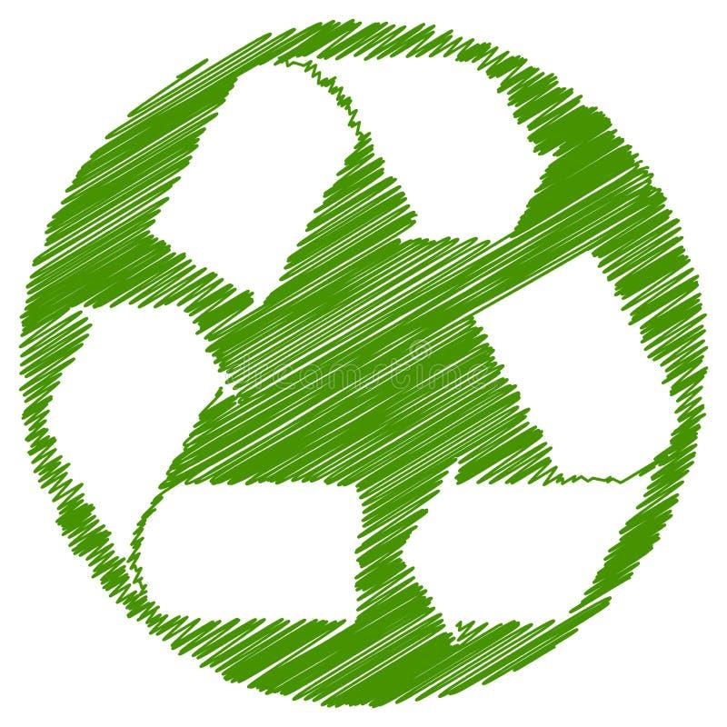 Recycle arrows green brush stroke stock illustration