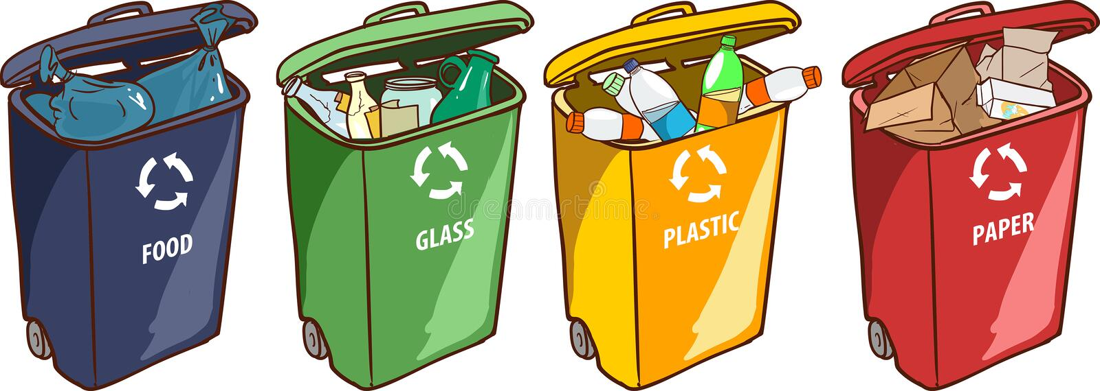 Vector illustration of a Recycling Bins for Paper Plastic Glass royalty free illustration
