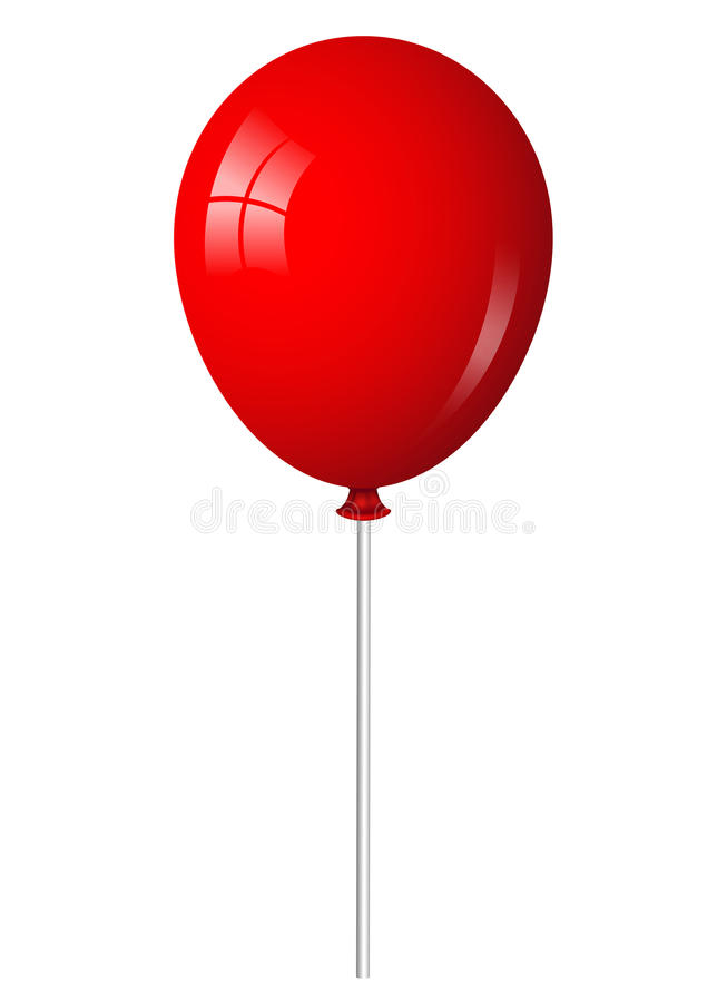 Red Balloon On Stick Stock Vector Illustration Of